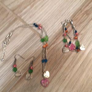 Brighton necklace, earring bracelet set! Hearts